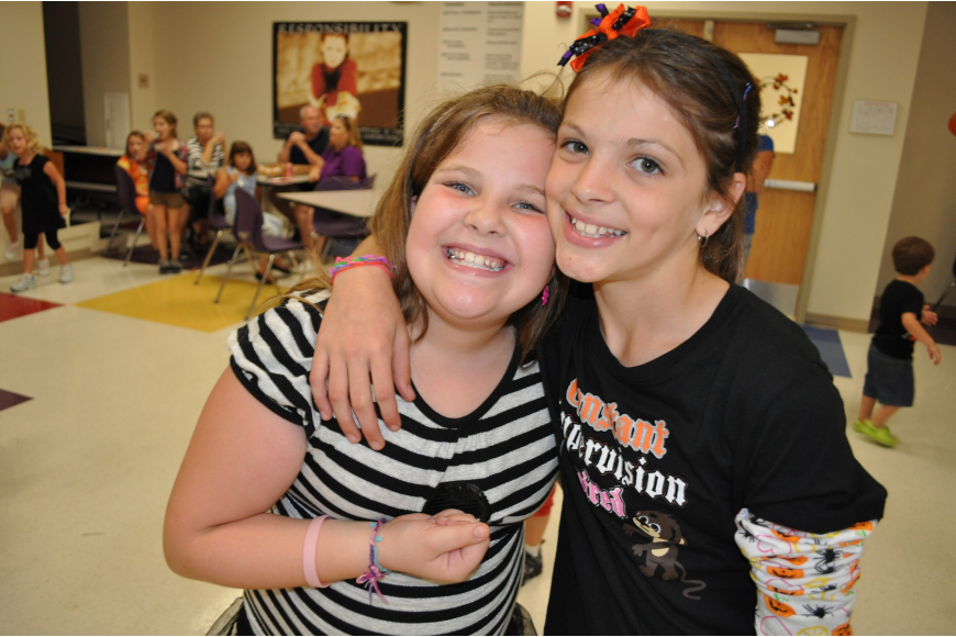 Fourth-graders Gina Zaffino and Olivia Dyce enjoyed dancing the most.