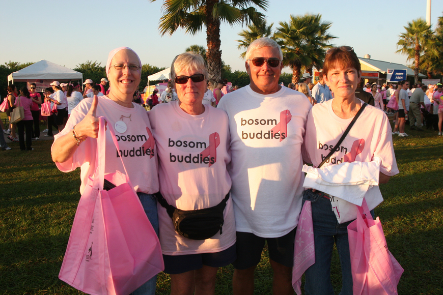 Kathy Benscoter, Judy and Ron Peterson and June Clark were part of the Bosom Buddies team.
