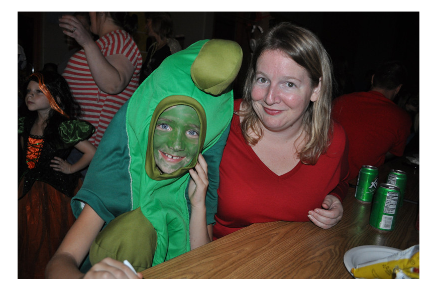 Hailey Huber had fun picking out her pea costume online. She is pictured with her mom, Dawn.