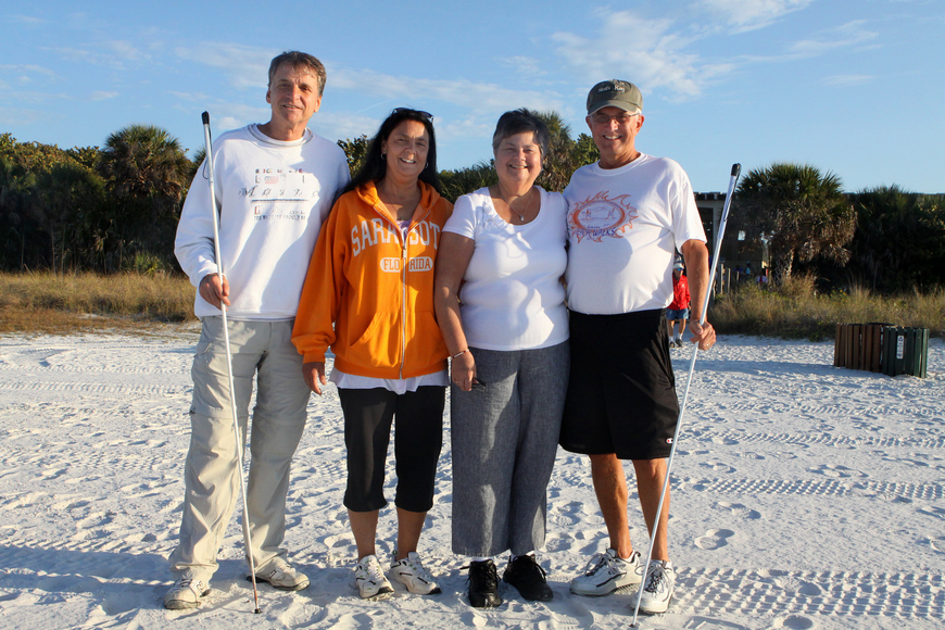 Richard and Lori Wilkinson get ready to walk the beach with their friends Sheila and Jim Niswander.