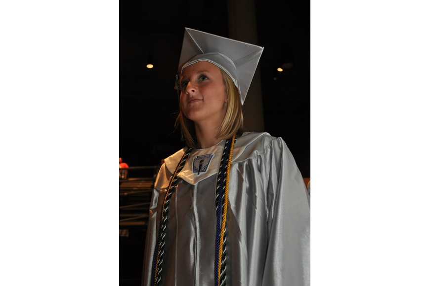 Lakewood Ranch's Hannah Asay looked out into the auditorium as she prepared to lead her classmates into the ceremony.
