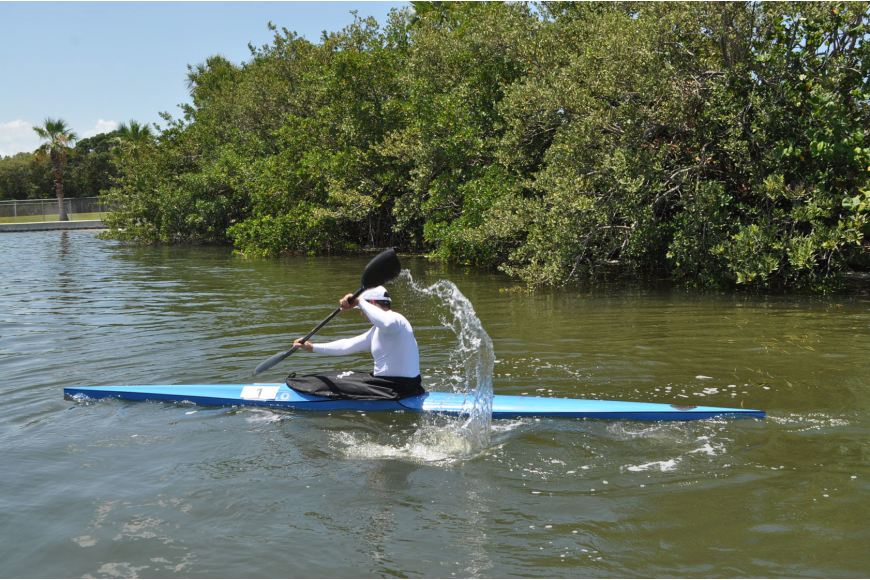 Peter Sibinkic, a Longboat fitness instructor and a former Olympic rower, won the Longboat Key Cahllenge May 20 at Bayfront Park Recreation Center with a time of 29 minutes and 6 seconds.