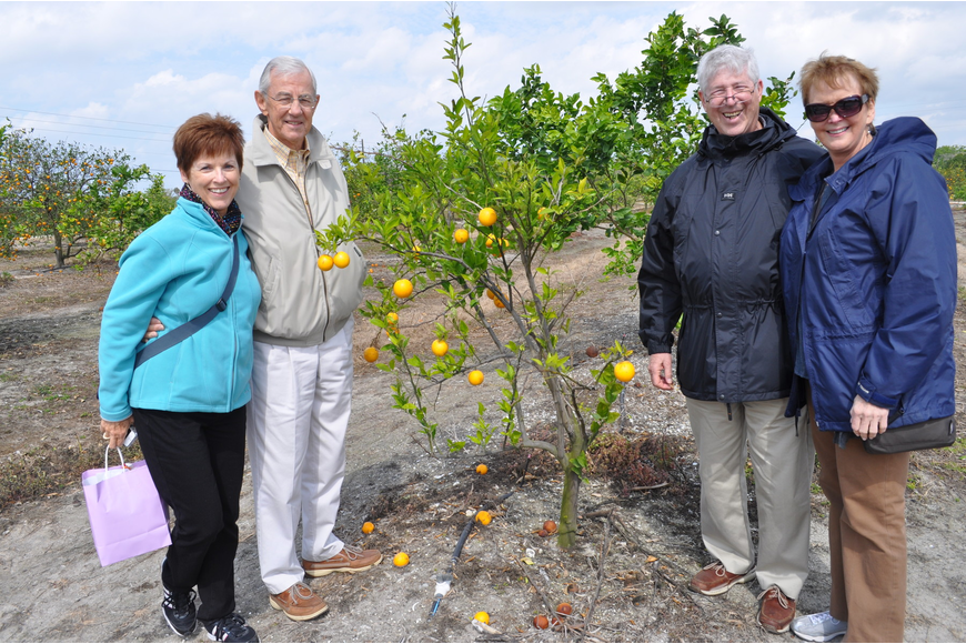 Mary Ann and Bob Barrigar came to see Mixon's fruits from Chicago, while Jim and Debbie Beaupre came from Alabama.