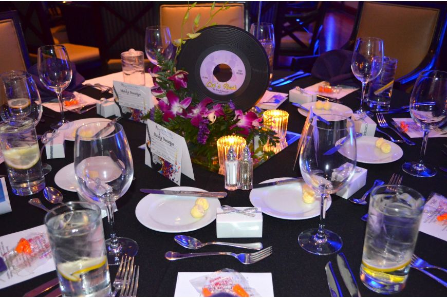 Keeping with the night's music theme, the tables were decorated with records.