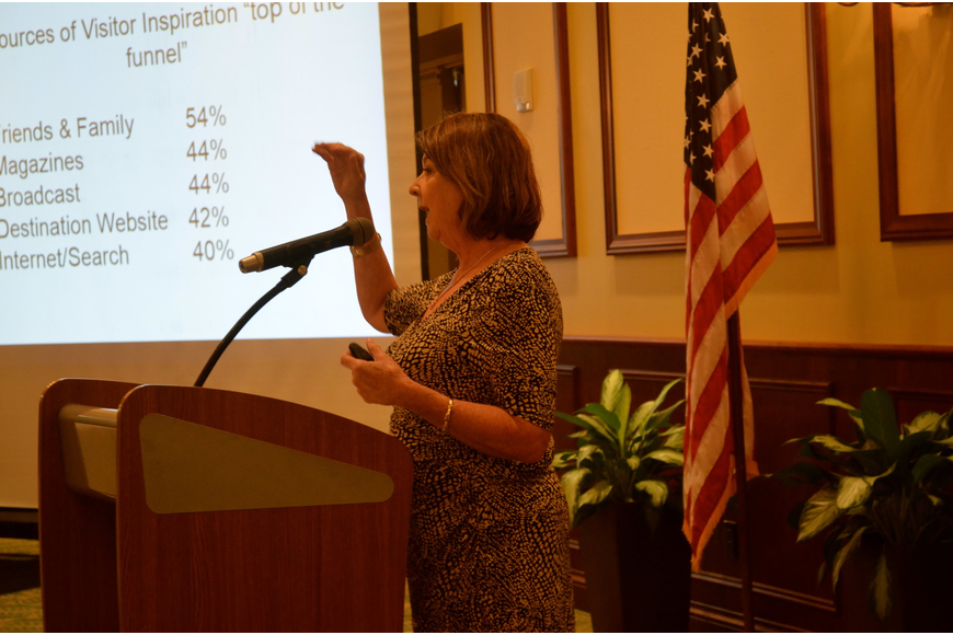 Virginia Haley, of Visit Sarasota County, leads a presentation on tourism.