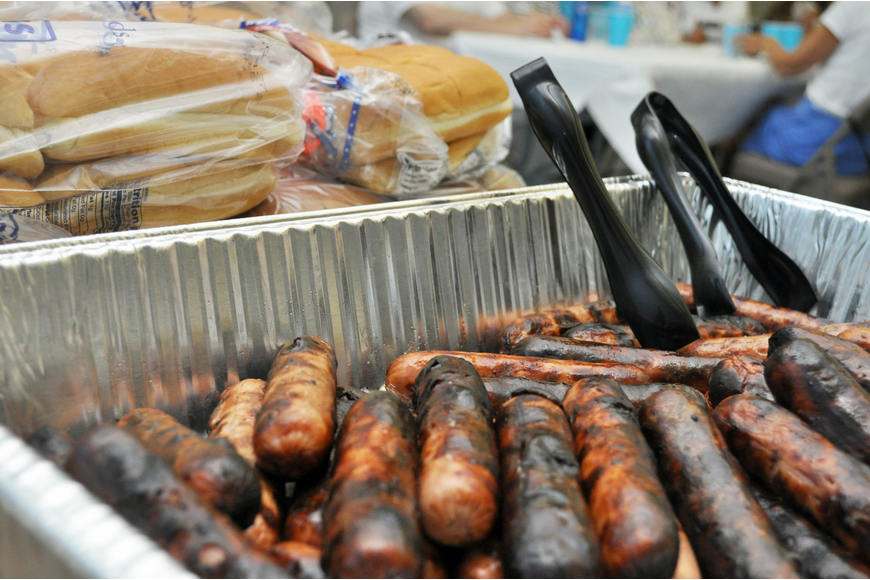 Grilled hot dogs and fixings were served at St. Mary Men's Club's Hot Dog Cookout Thursday, Aug. 21.