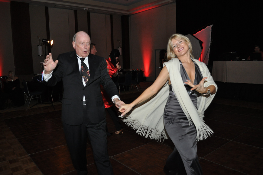 Harry Call and Ilona Tiscenko share a dance after dinner.