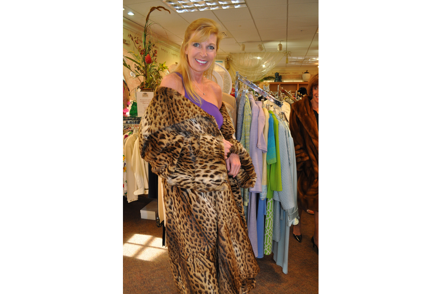 Virginia Ray modeling an Asian Wildcat coat from the estate of Ethel Taub