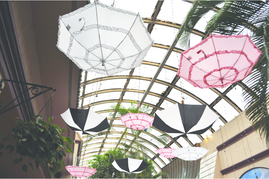 Pink, white and black parasols hung from the roof of Michael's On East at the Children First Gala