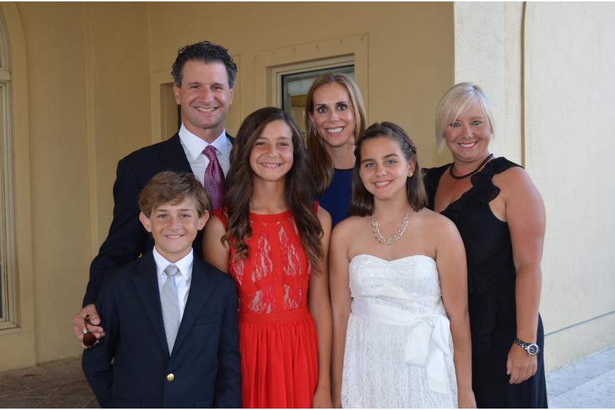 Dr. Chris Sforzo and Terri Vitale with their children Ryan and Sydney and friends Chelsea and Michelle Lea