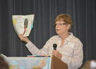 Bradenton author Gail Hedrick discusses writing and science with Carlos Haile sixth graders on Friday, Oct. 20.