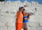 Attendees of Siesta Key'       s Crystal Classic were greeted by a large sand sculpture announcing the events sponsors.