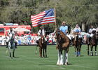 Dana Aschinger, a Polo Club member, presents the colors before the Observer Cup.
