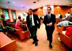 Longboat Key Club and Resort General Manager Michael Welly, left, and Loeb Partners Realty Chief Operating Officer Michael Brody quickly depart Temple Beth Israel after the Town Commission held a vote and ended the Islandside hearing Monday, June 14.